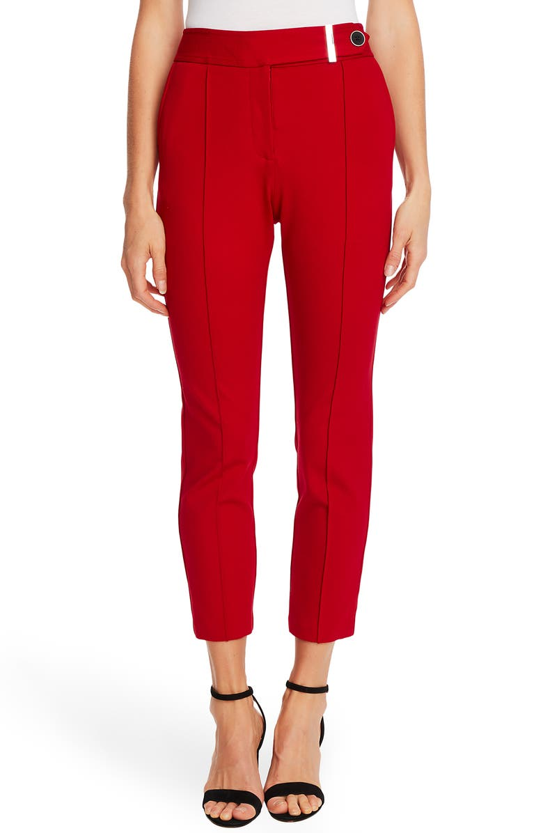 CECE Pintuck Tapered Ponte Knit Pants, Main, color, RIBBON RED