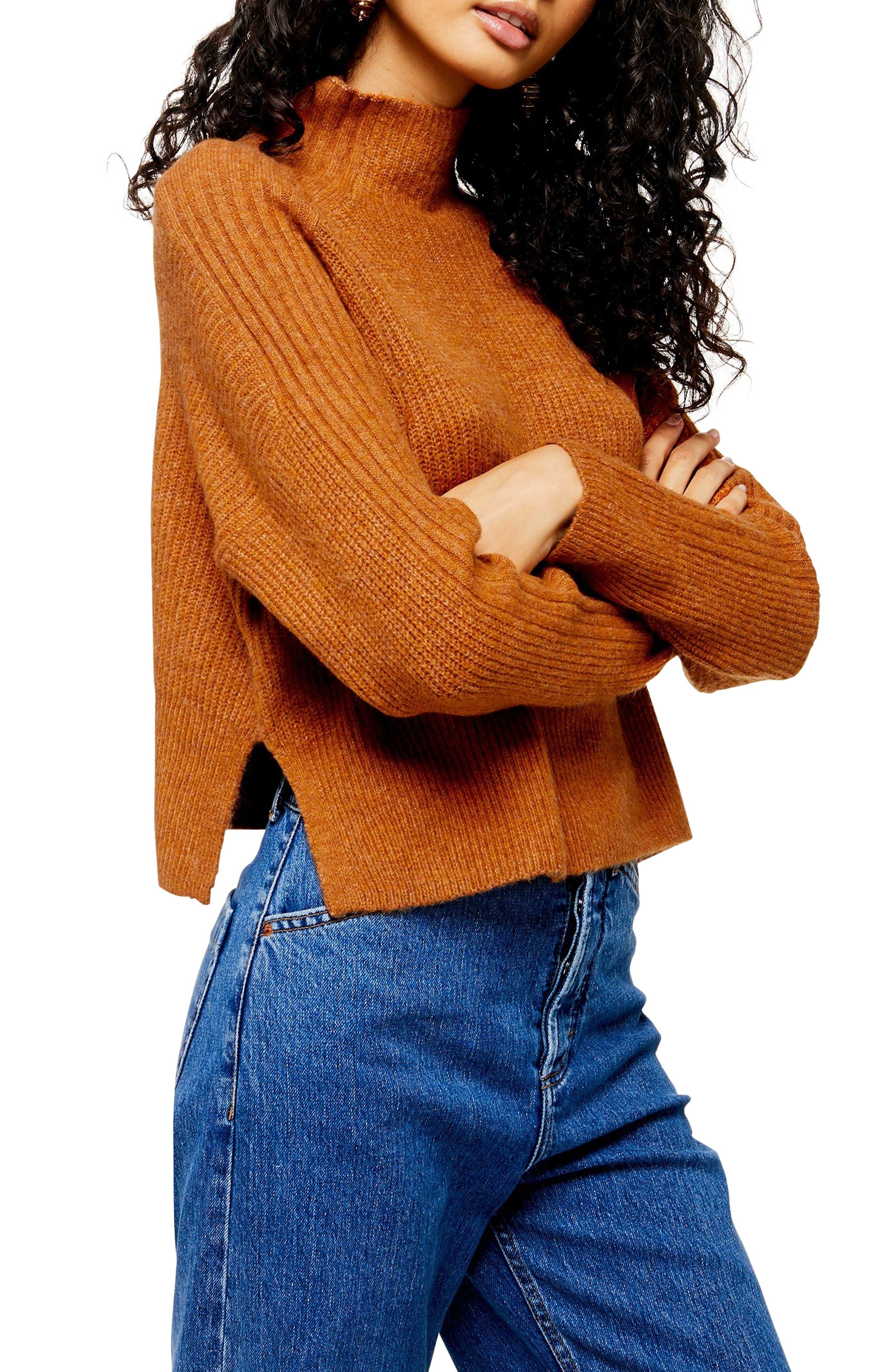 Topshop Funnel Neck Crop Sweater (Regular & Petite)