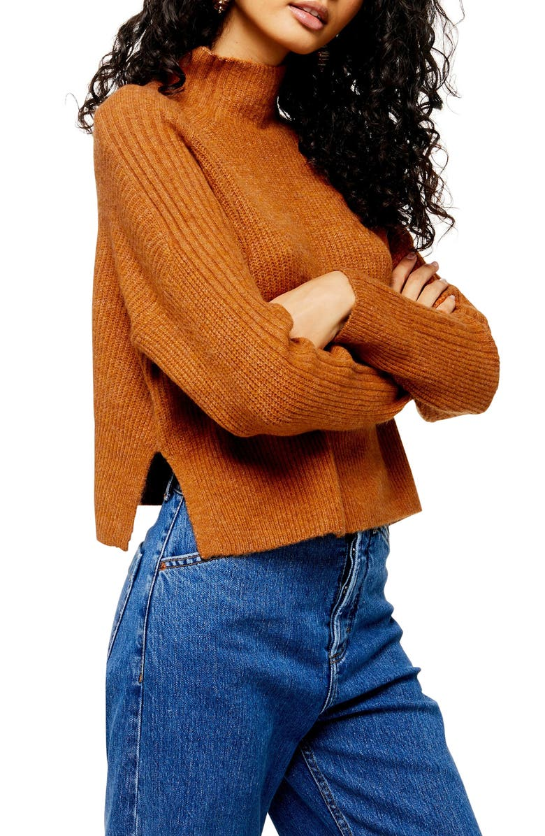 TOPSHOP Funnel Neck Crop Sweater, Main, color, CAMEL