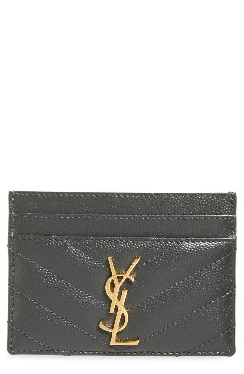 SAINT LAURENT Monogram Quilted Leather Credit Card Case, Main, color, 021
