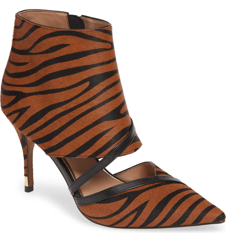 LINEA PAOLO Noreen II Genuine Calf Hair Bootie, Main, color, CARAMEL BLACK ZEBRA CALF HAIR