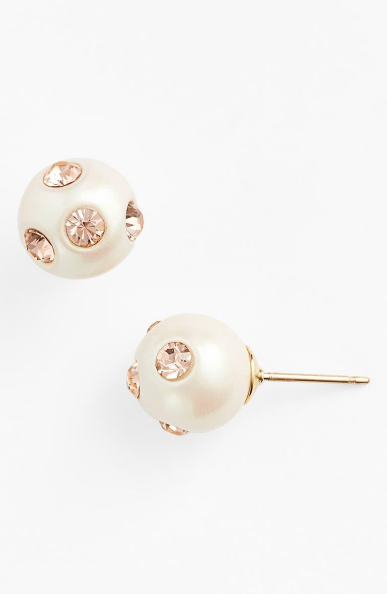 KATE SPADE NEW YORK 'polka dot' faux pearl stud earrings, Main, color, 650