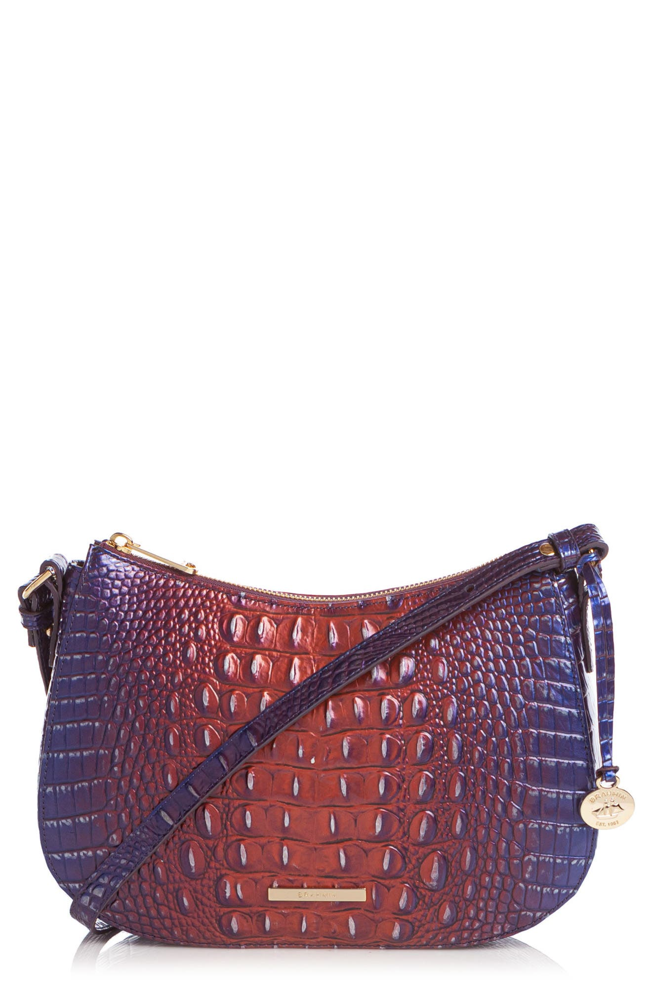 Shayna Croc Embossed Leather Crossbody Bag