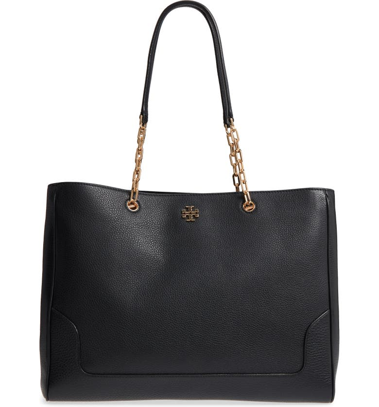 TORY BURCH Marsden Pebbled Leather Tote, Main, color, 001