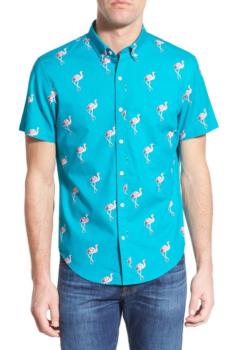 BONOBOS 'Flamingo Stand' Slim Fit Short Sleeve Sport Shirt, Main, color, 400