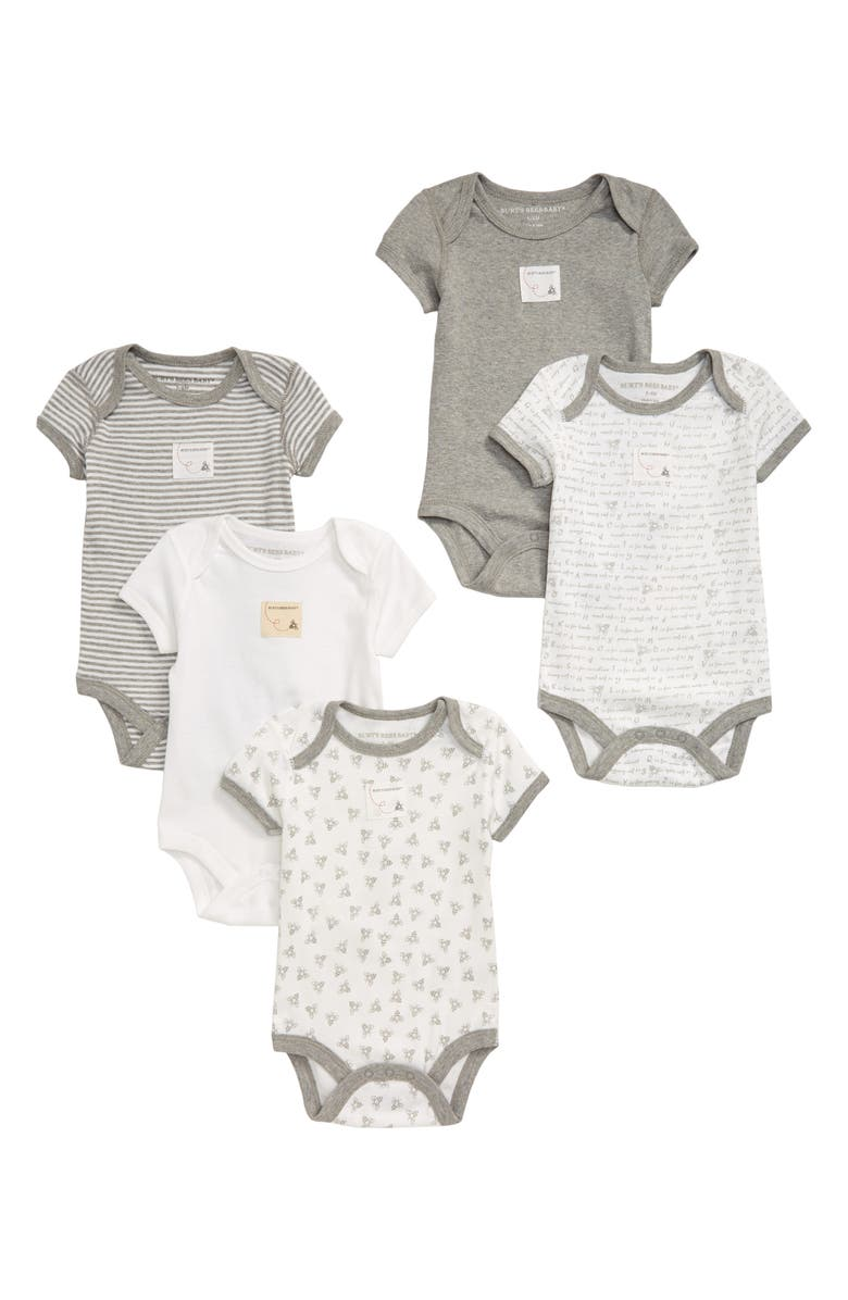 BURTS BEES Burt's Bees Baby 5-Pack Organic Cotton Bodysuits, Main, color, HEATHER GREY
