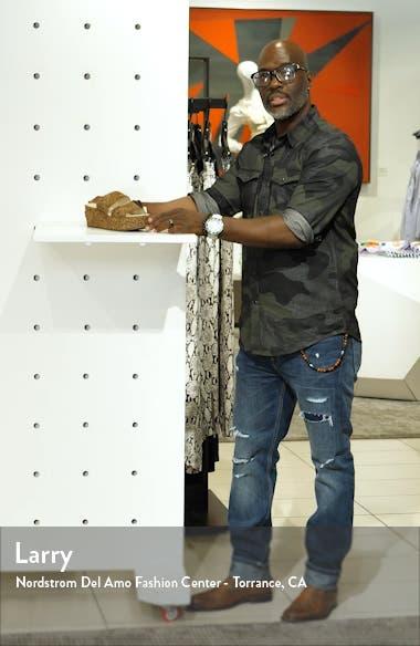 Struttin' Platform Wedge Genuine Calf Hair Slide Sandal, sales video thumbnail