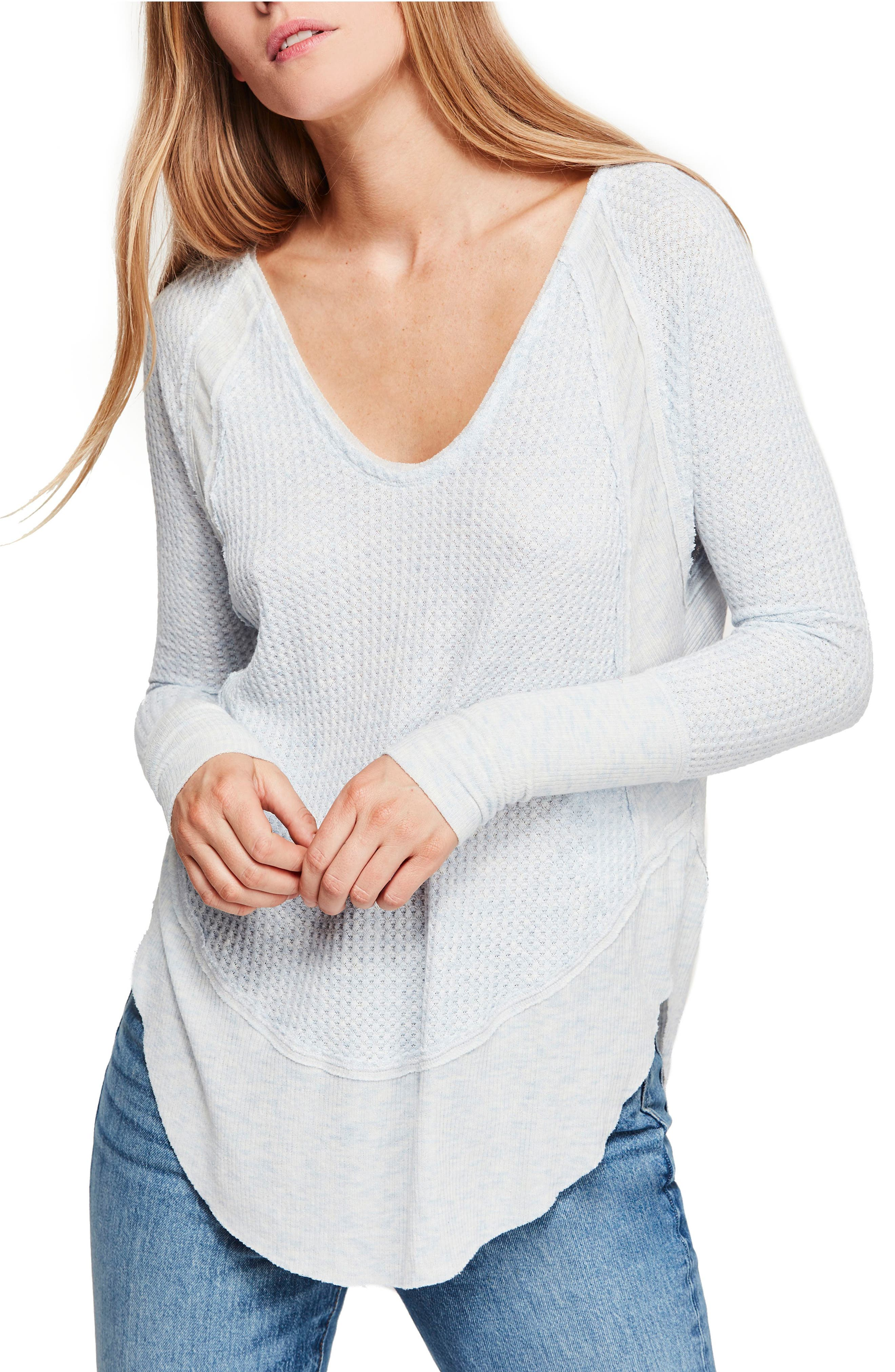 We the Free by Free People Catalina V-Neck Thermal Top, Main, color, SKY