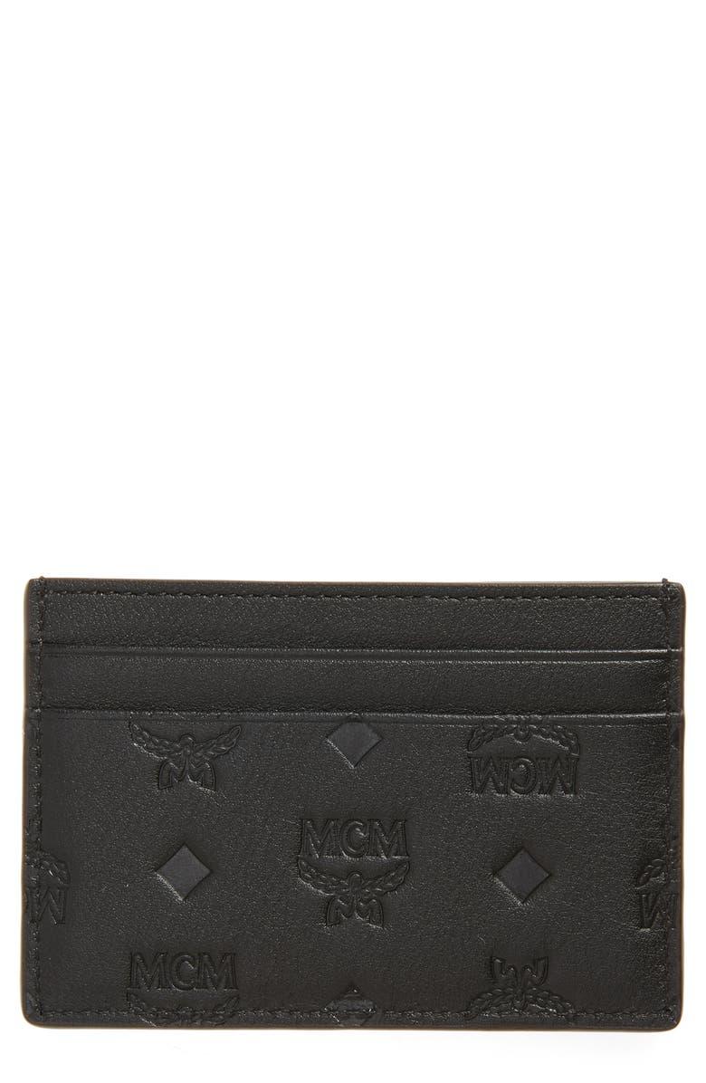 MCM Klara Monogram Leather Card Case, Main, color, BLACK