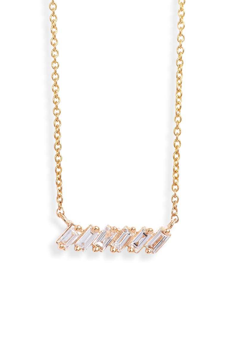 DANA REBECCA DESIGNS Sadie Diamond Baguette Necklace, Main, color, YELLOW GOLD