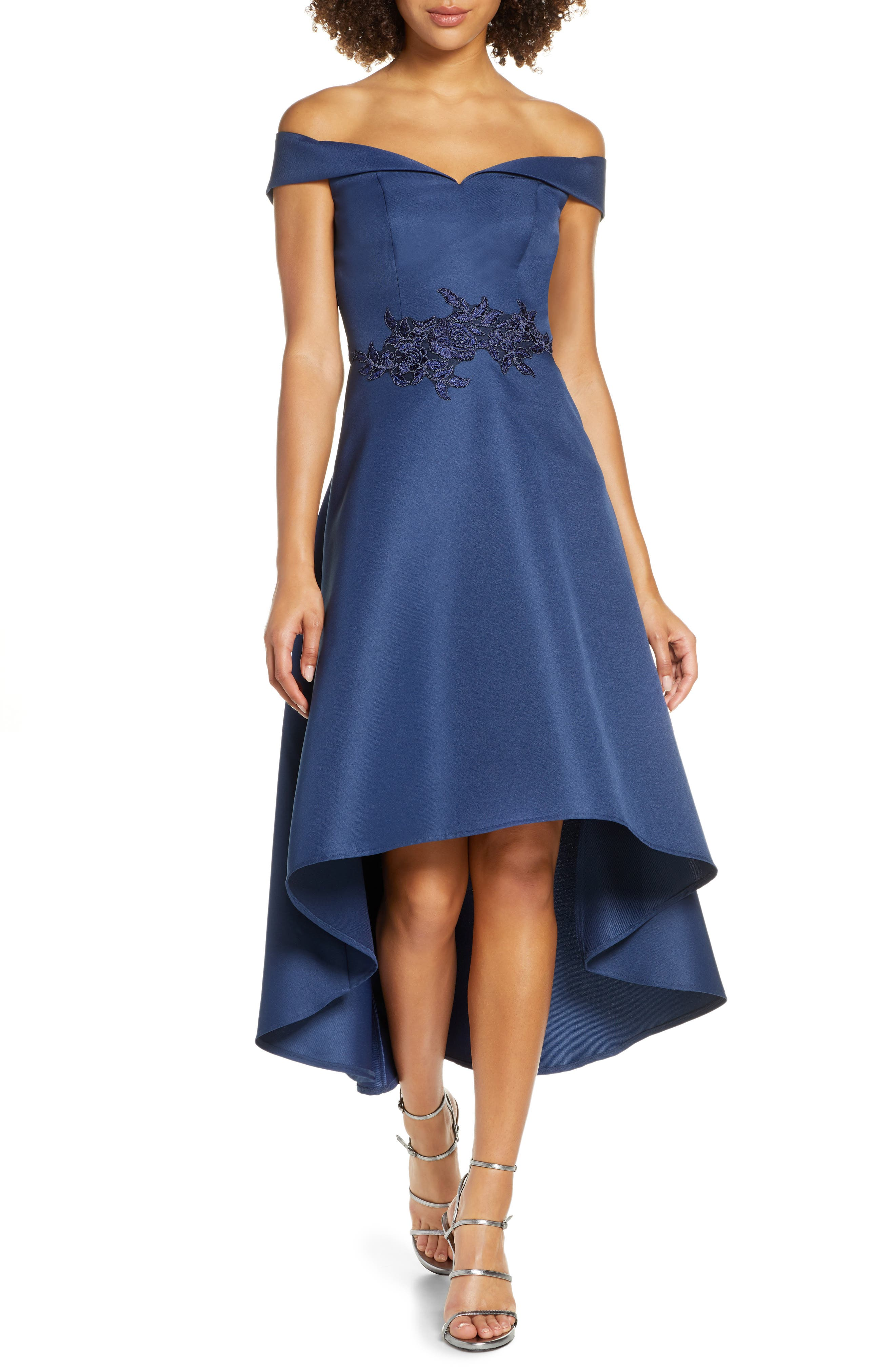 Chi Chi London Amour Off The Shoulder High/low Satin Gown, Blue