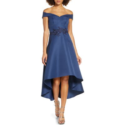 Chi Chi London Amour Off The Shoulder High/low Gown, Blue
