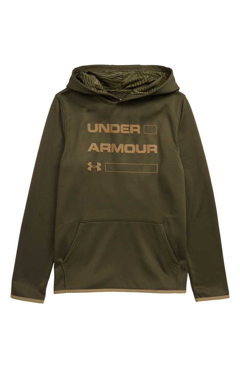 UNDER ARMOUR Armour Fleece Logo ColdGear<sup>®</sup> Hoodie, Main, color, GUARDIAN GREEN/ OUTPOST GREEN