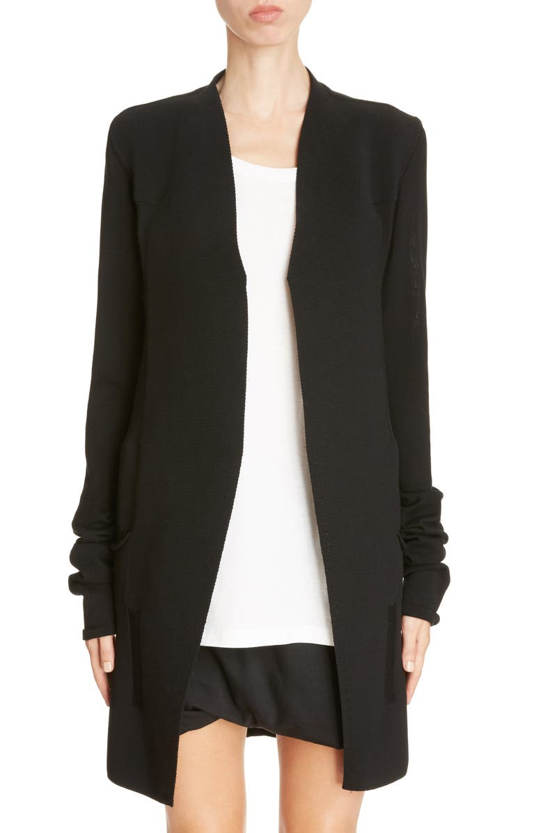 RICK OWENS Structured Longline Cardigan, Main, color, 009