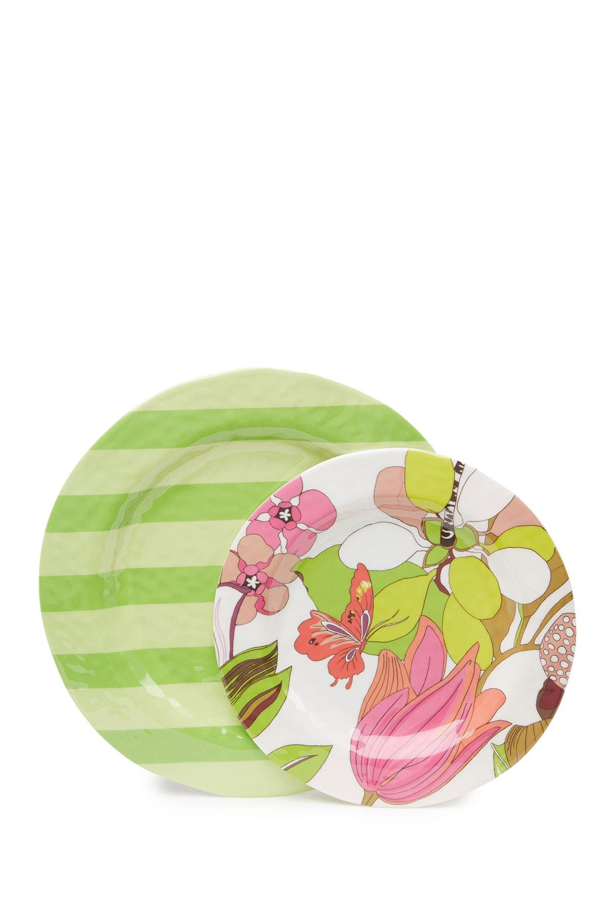 Image of Trina Turk Floral & Green Stripes Dinner Plates 2-Piece Set