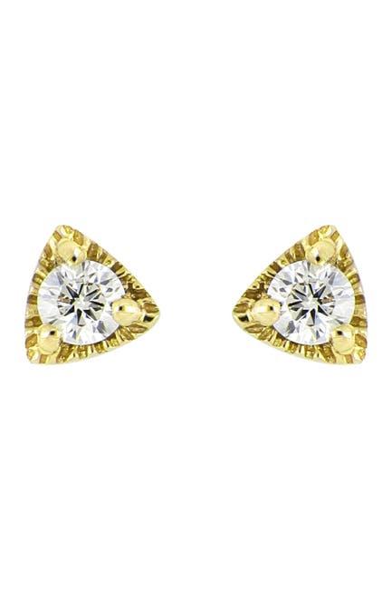 Image of Bony Levy 18K Yellow Gold Triangle Diamond Stud Earrings - 0.07 ctw