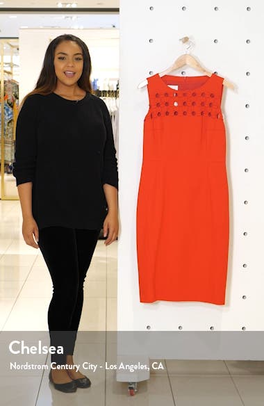 Dot Appliqué Ponte Sheath Dress, sales video thumbnail