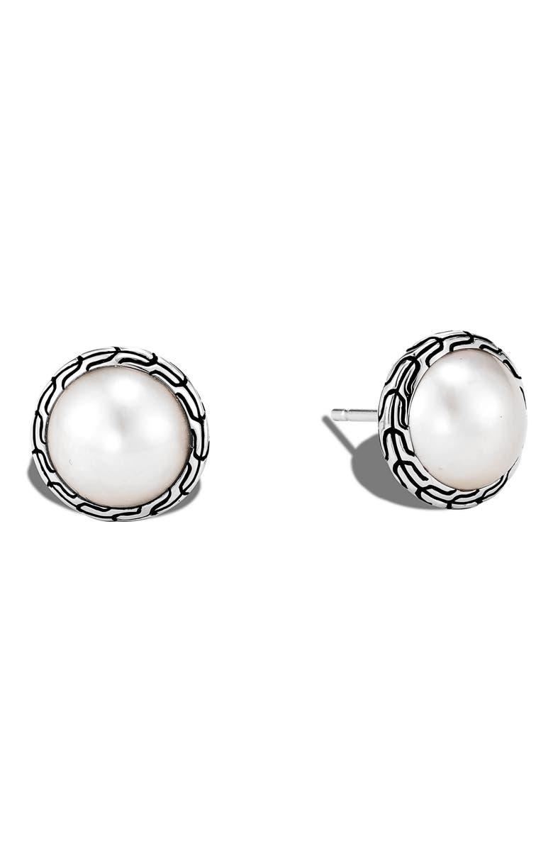 JOHN HARDY Classic Chain Mabé Pearl Stud Earrings, Main, color, PEARL/ SILVER