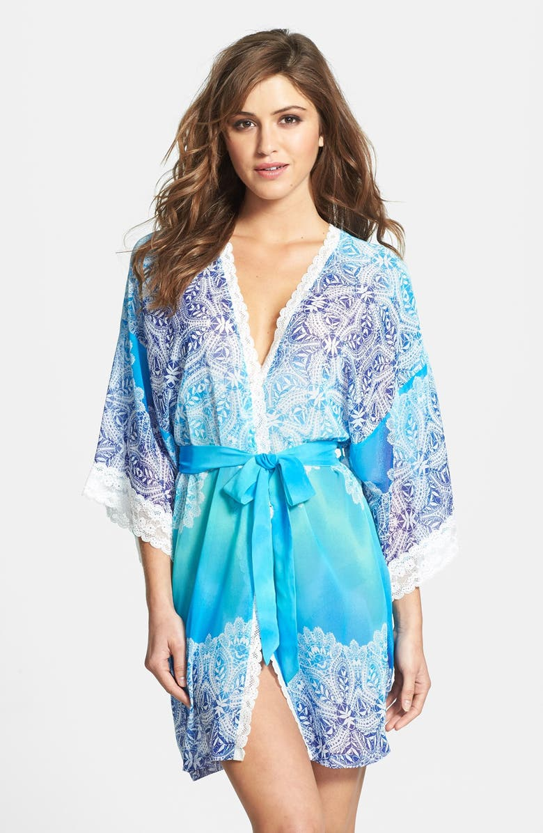 IN BLOOM BY JONQUIL 'Bella Blue' Lace Trim Ombré Robe, Main, color, 400