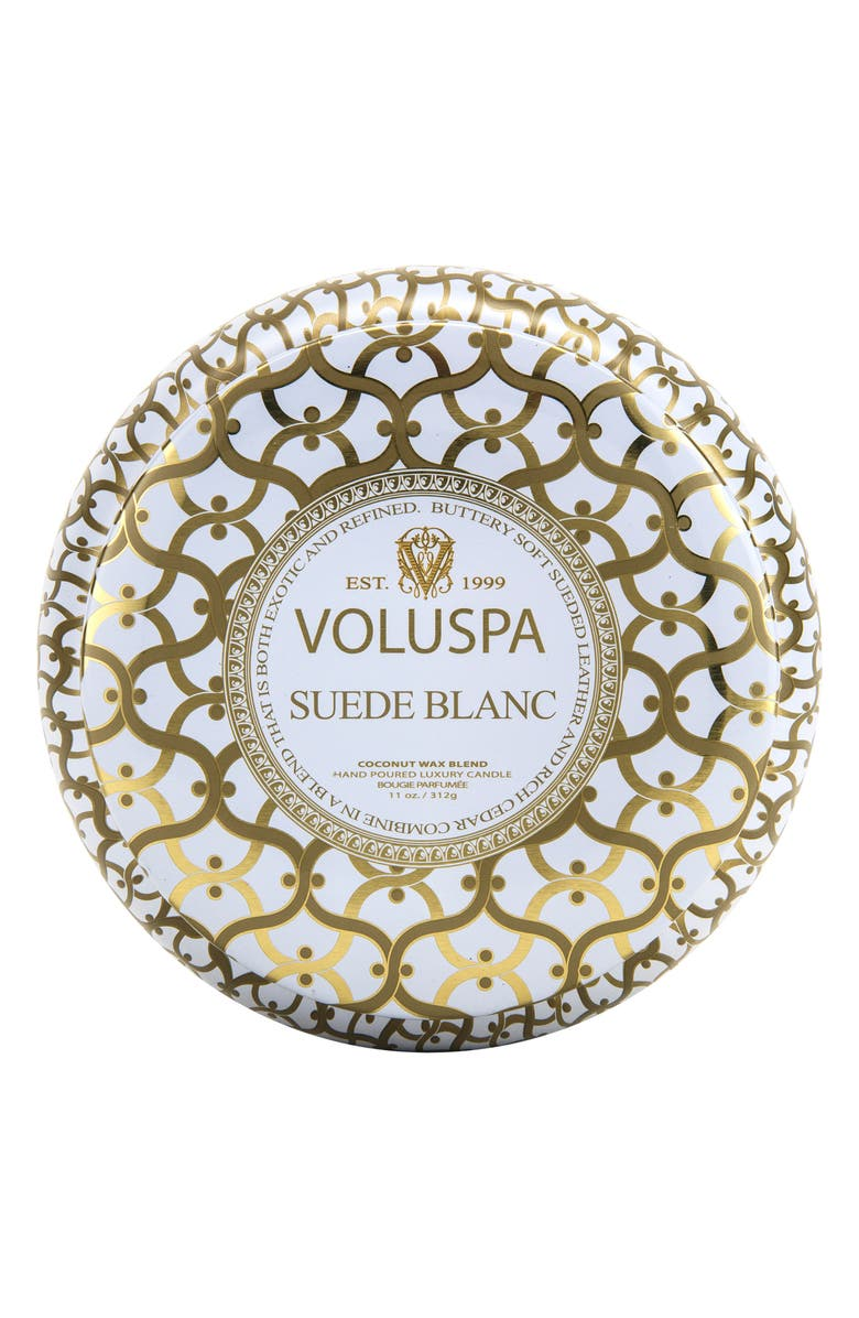 VOLUSPA Classic Maison Suede Blanc Maison Metallo Two-Wick Candle, Main, color, NO COLOR