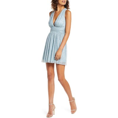 Lulus Metallic Stripe Twist Back Skater Dress, Blue