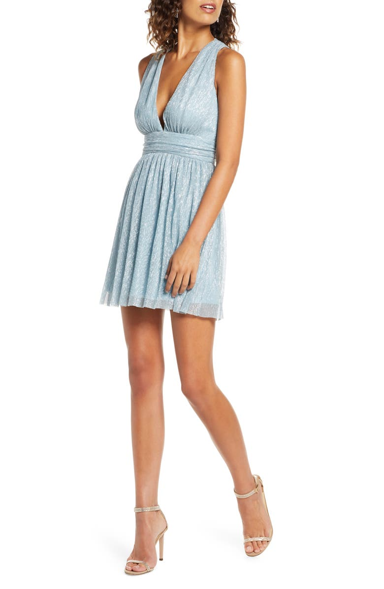 LULUS Metallic Stripe Twist Back Cocktail Dress, Main, color, 400