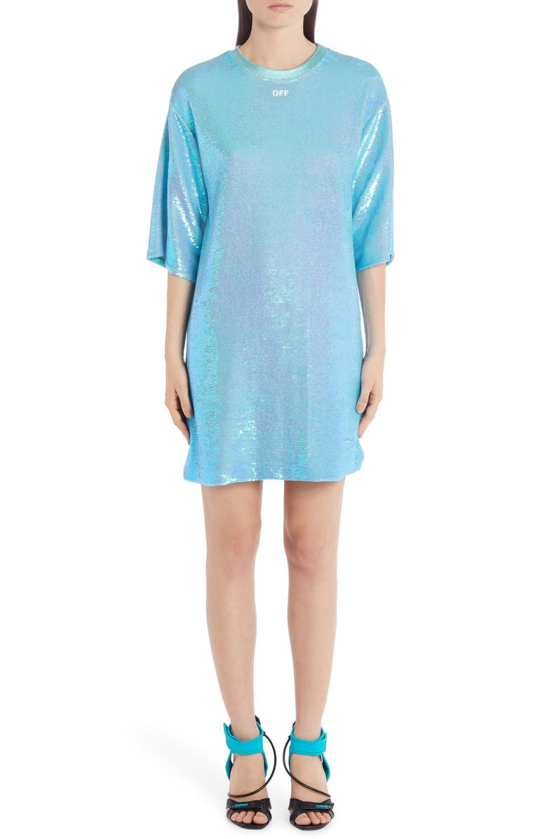 OFF-WHITE Logo Sequin T-Shirt Dress, Main, color, LIGHT BLUE WHITE