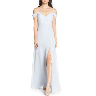 Jenny Yoo Priya Cold Shoulder Chiffon Evening Dress, Blue