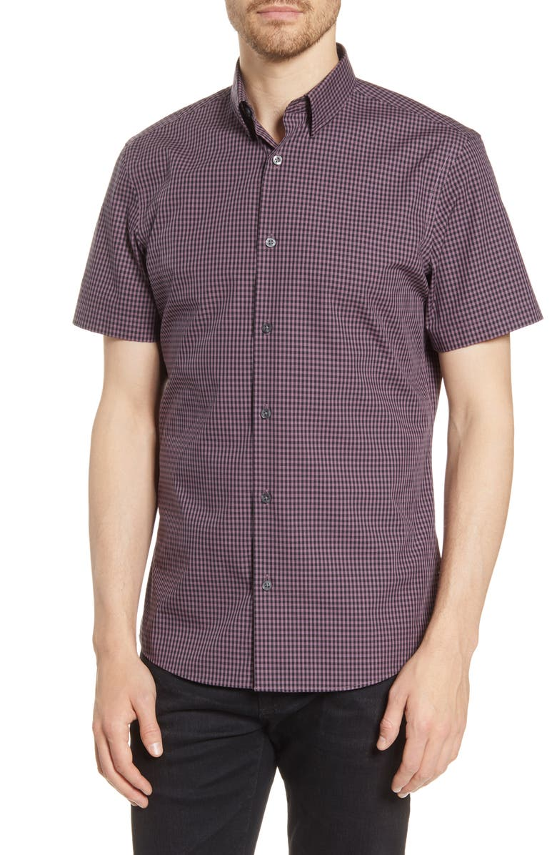 NORDSTROM MEN'S SHOP Trim Fit Check Short Sleeve Non-Iron Button-Up Shirt, Main, color, 501