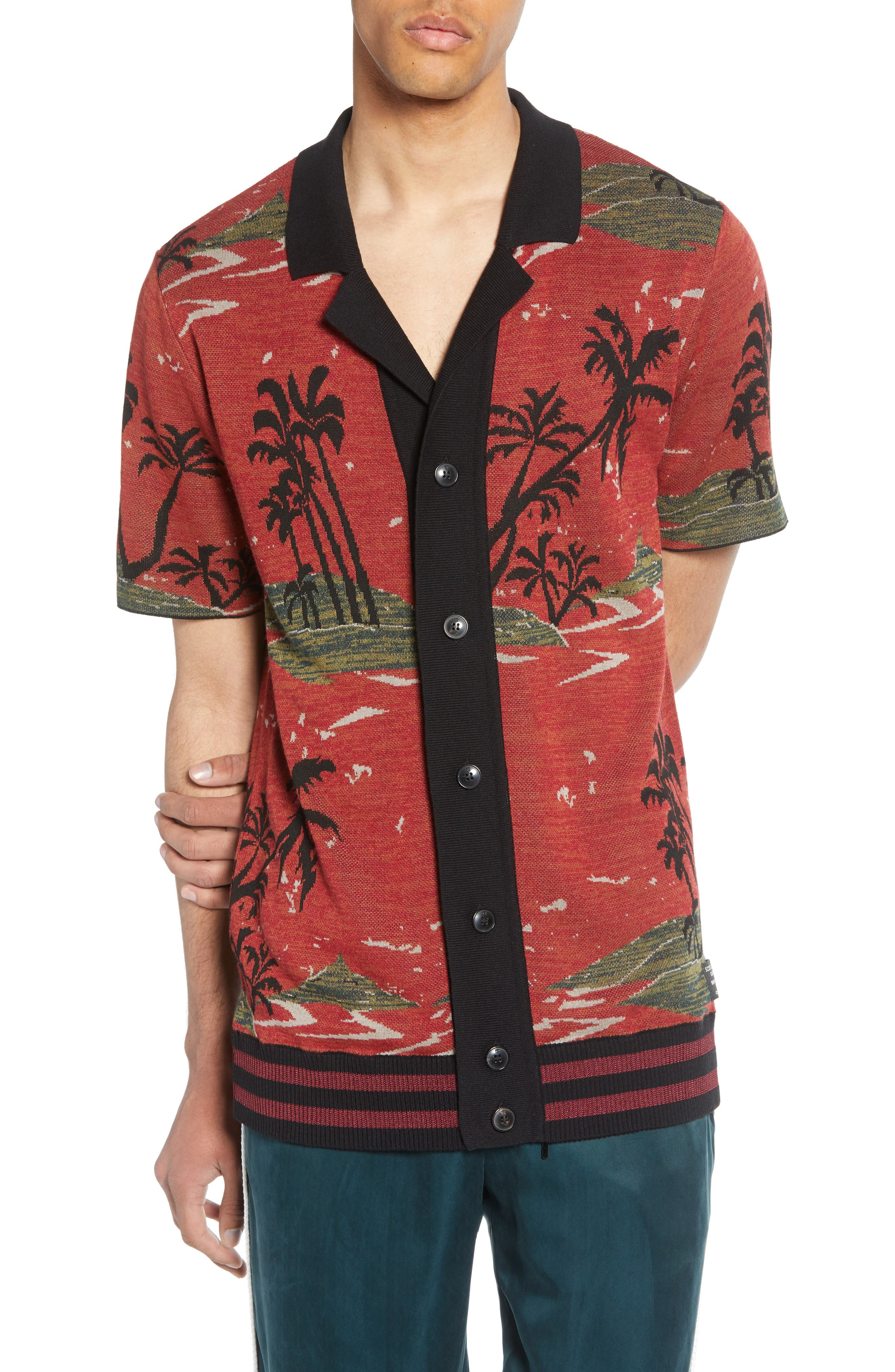 Scotch & Soda Short Sleeve Tropical Pattern Cardigan, Red