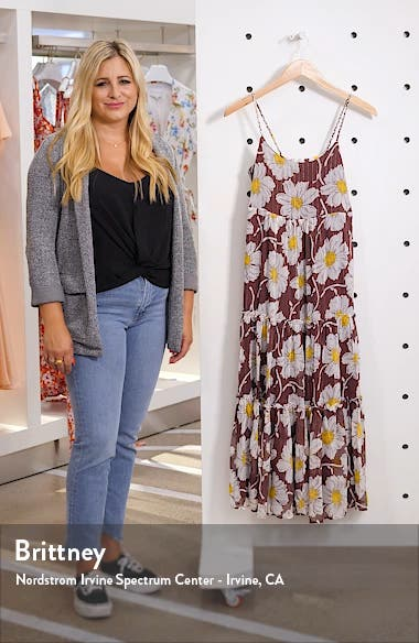 Braided Strap Tier Midi Dress in Metallic Big Time Blooms, sales video thumbnail