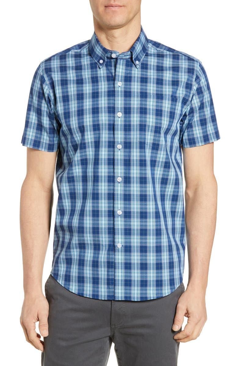 CUTTER & BUCK Strive Classic Fit Shadow Plaid Shirt, Main, color, INDIGO