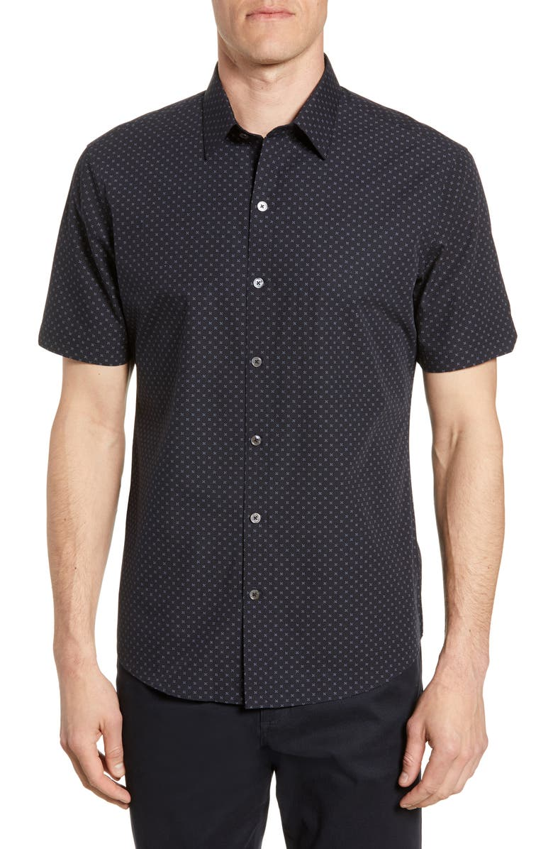 ZACHARY PRELL Dorn Regular Fit Print Short Sleeve Button-Up Shirt, Main, color, 410