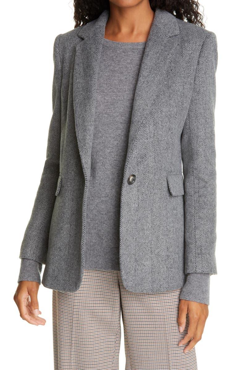 HELENE BERMAN Carine Jacket, Main, color, DARK GREY HERRINGBONE