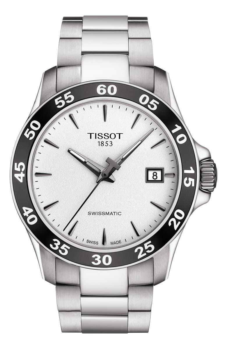 TISSOT V8 Swissmatic Bracelet Watch, 42mm, Main, color, SILVER/ WHITE/ BLACK