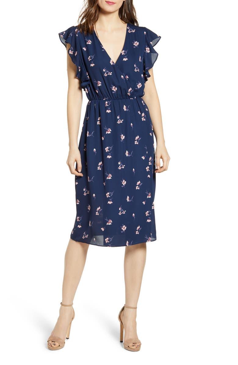 SOCIALITE Floral Print Dress, Main, color, 400