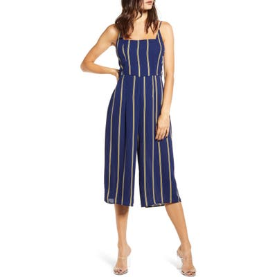 Row A Sleeveless Striped Jumpsuit, Blue