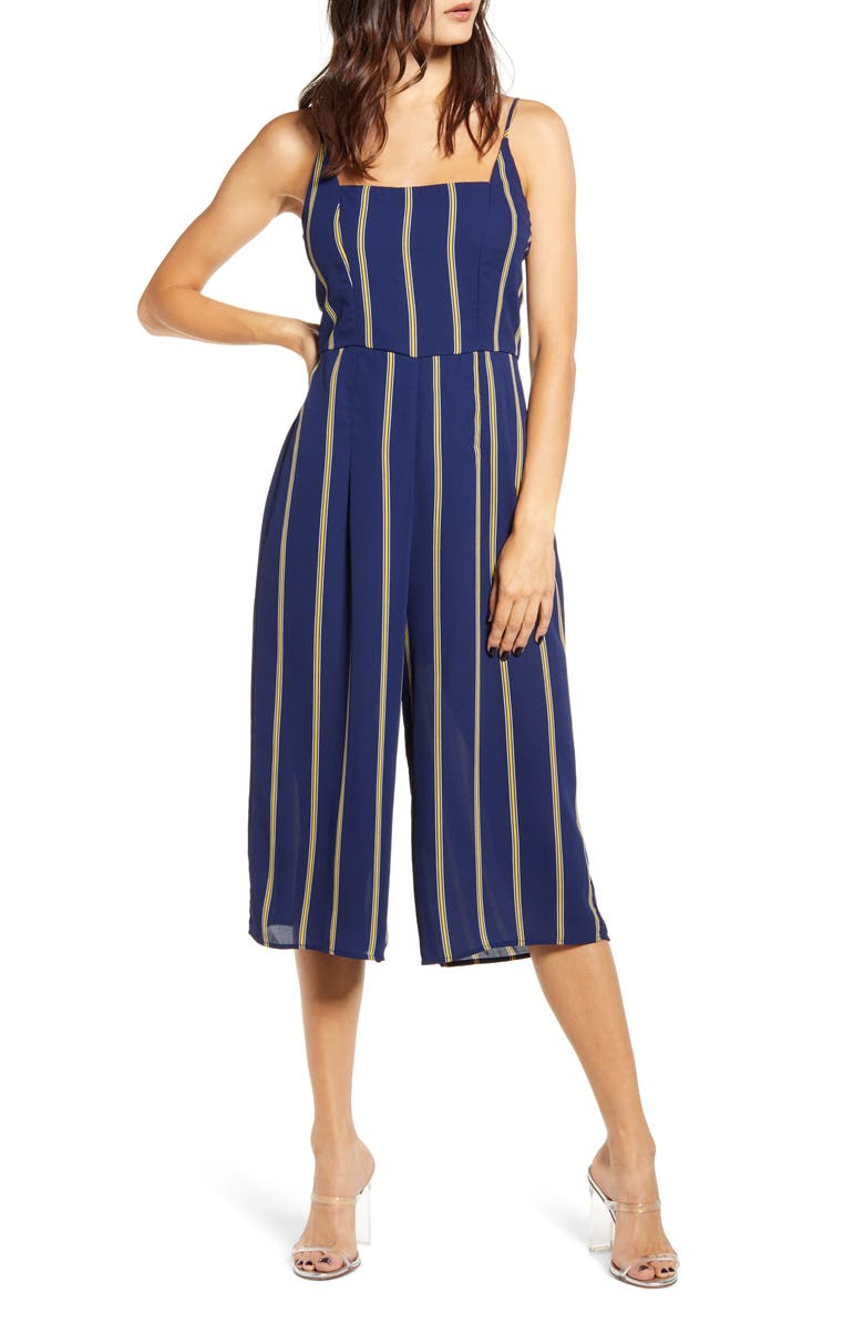 ROW A Sleeveless Striped Jumpsuit, Main, color, NAVY