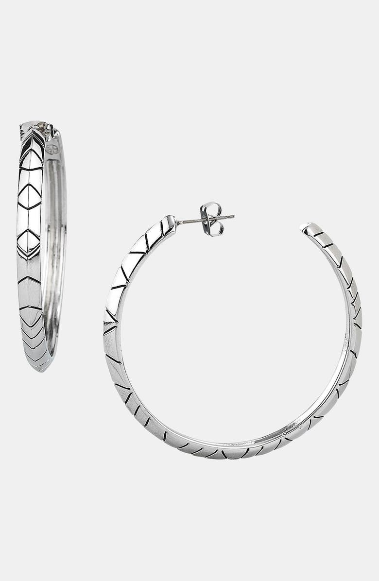HOUSE OF HARLOW 1960 Engraved Hoop Earrings, Main, color, 040