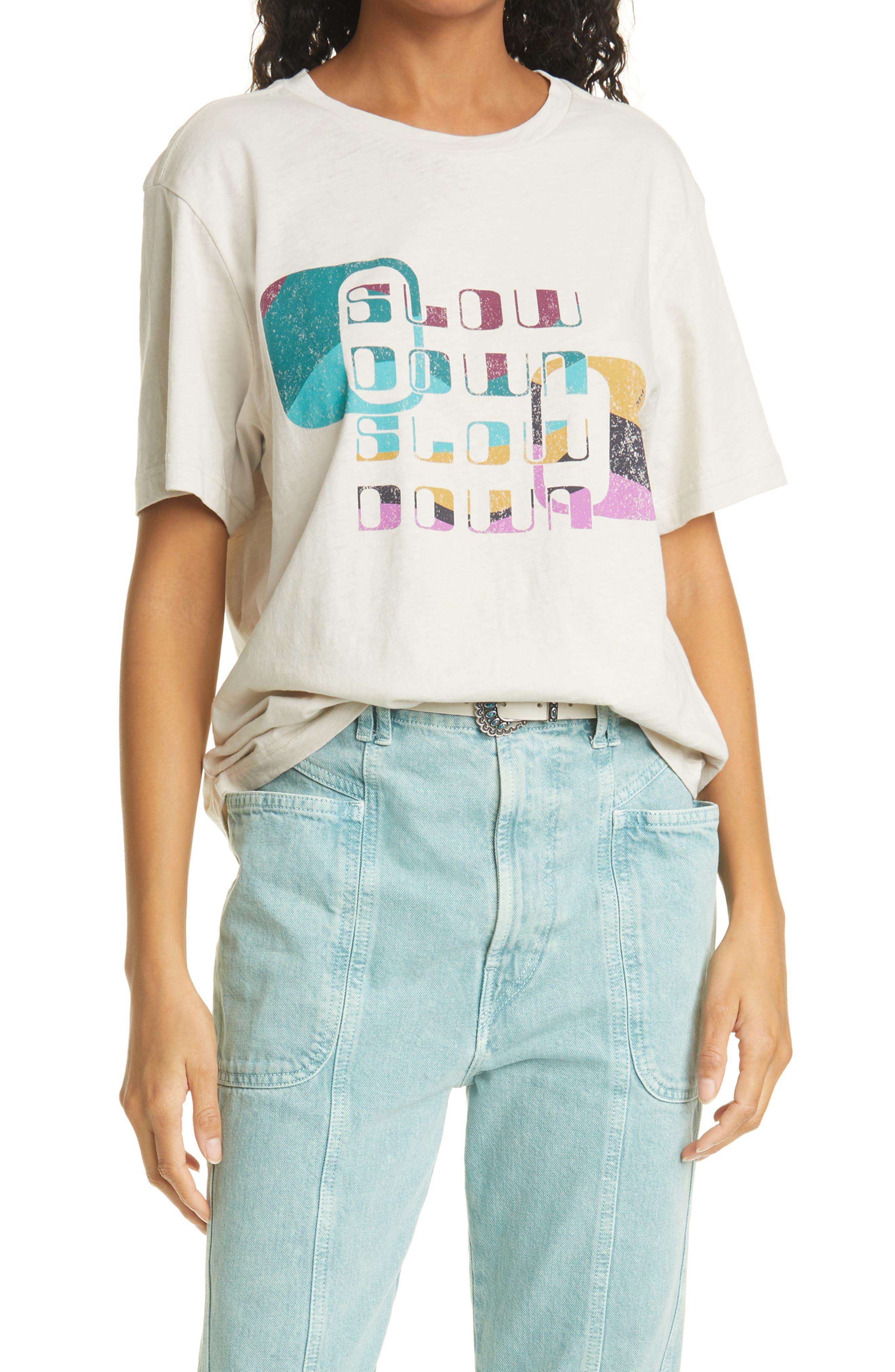 Isabel Marant Etoile Slow Down Cotton Graphic Tee