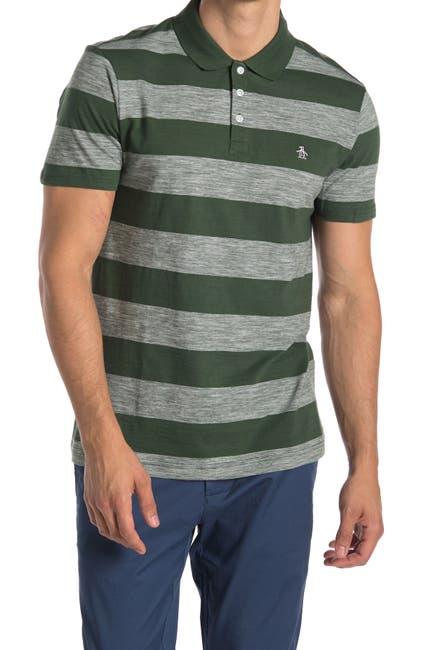 Image of Original Penguin Striped Cotton Polo Shirt
