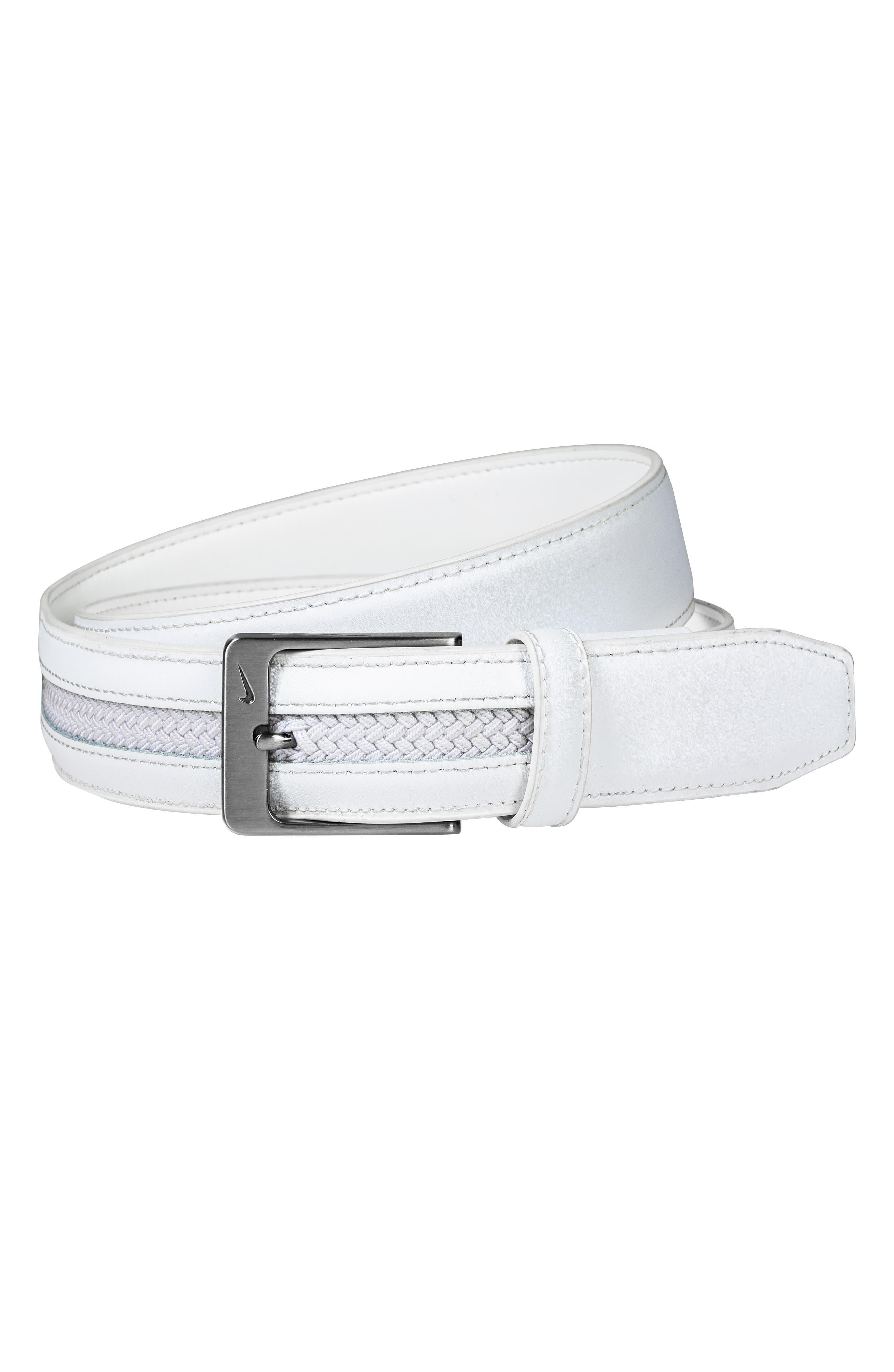 Nike G-Flex Woven Leather Belt, White