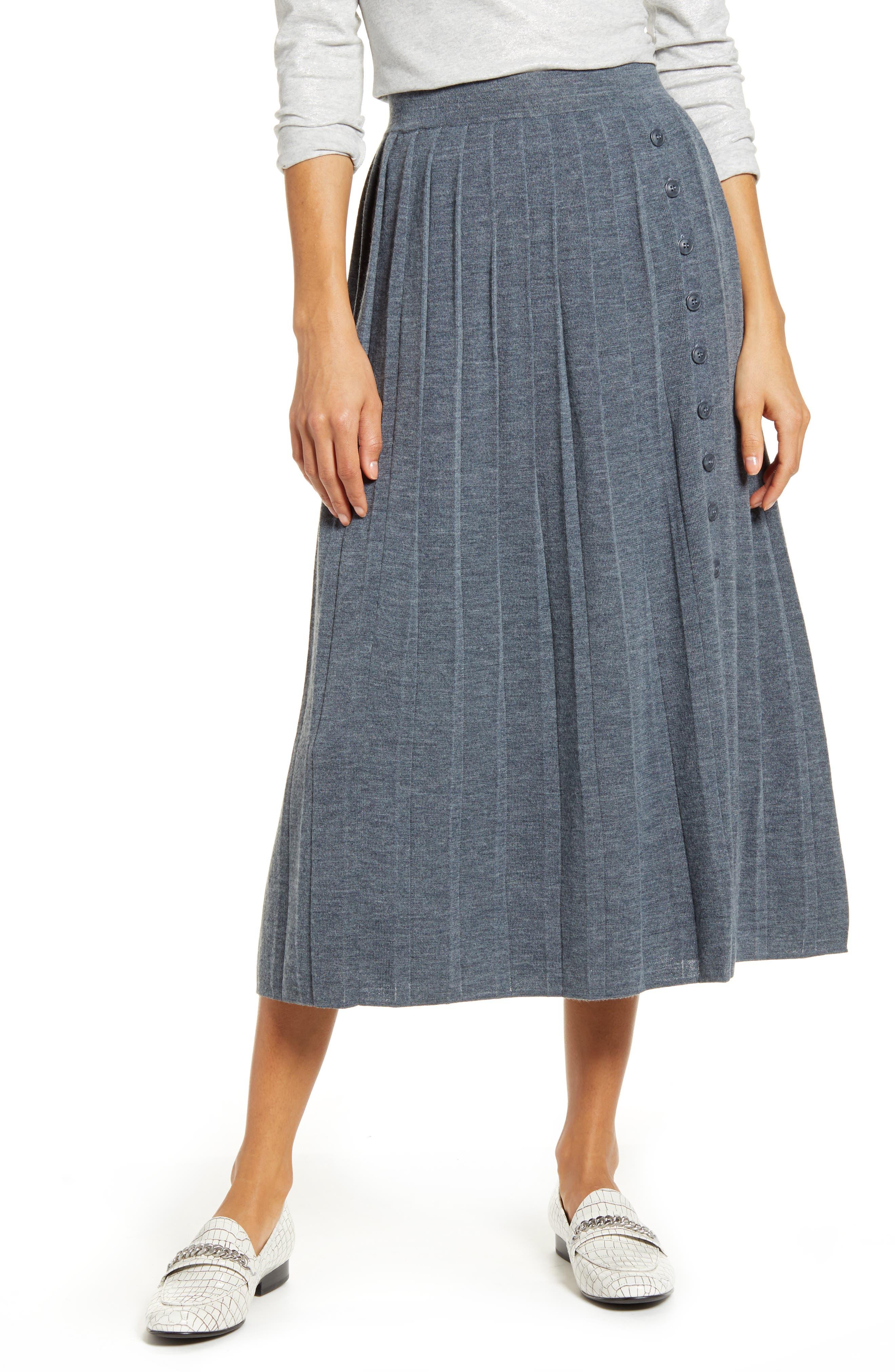 Victorian Skirts   Bustle, Walking, Edwardian Skirts Womens 1901 Pleated Sweater Skirt Size Large - Grey $89.00 AT vintagedancer.com