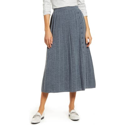 1901 Pleated Sweater Skirt, Grey