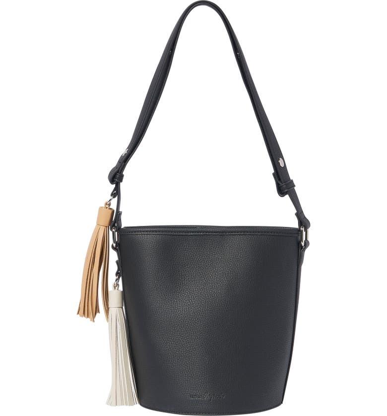 URBAN ORIGINALS Two Lovers Vegan Leather Bucket Bag, Main, color, Black