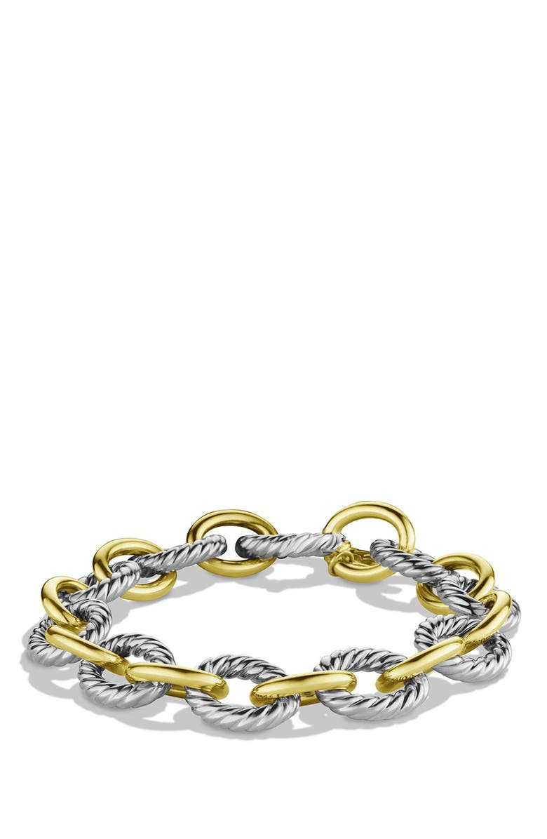 DAVID YURMAN 'Oval' Large Link Bracelet with Gold, Main, color, TWO TONE