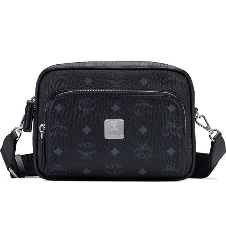 MCM Klassick Visetos Crossbody Bag, Main, color, BLACK
