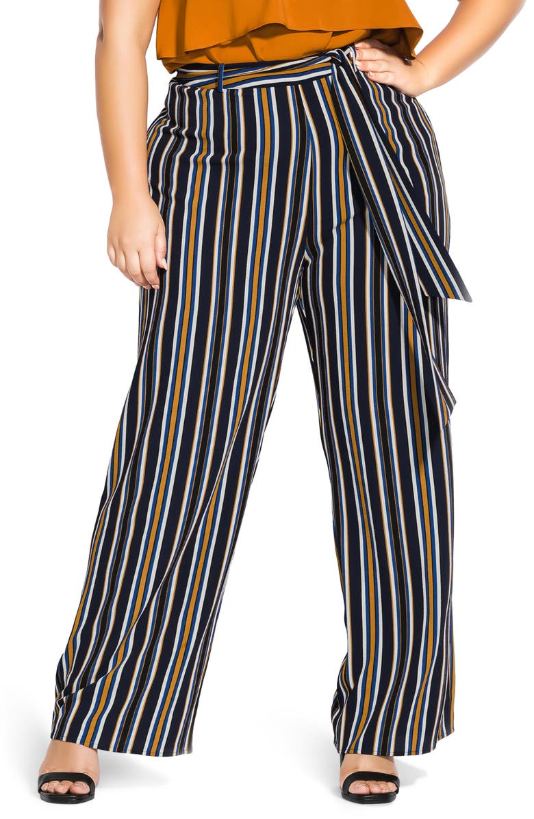 CITY CHIC Golden Stripe Tie Waist Pants, Main, color, GOLDEN STRIPE