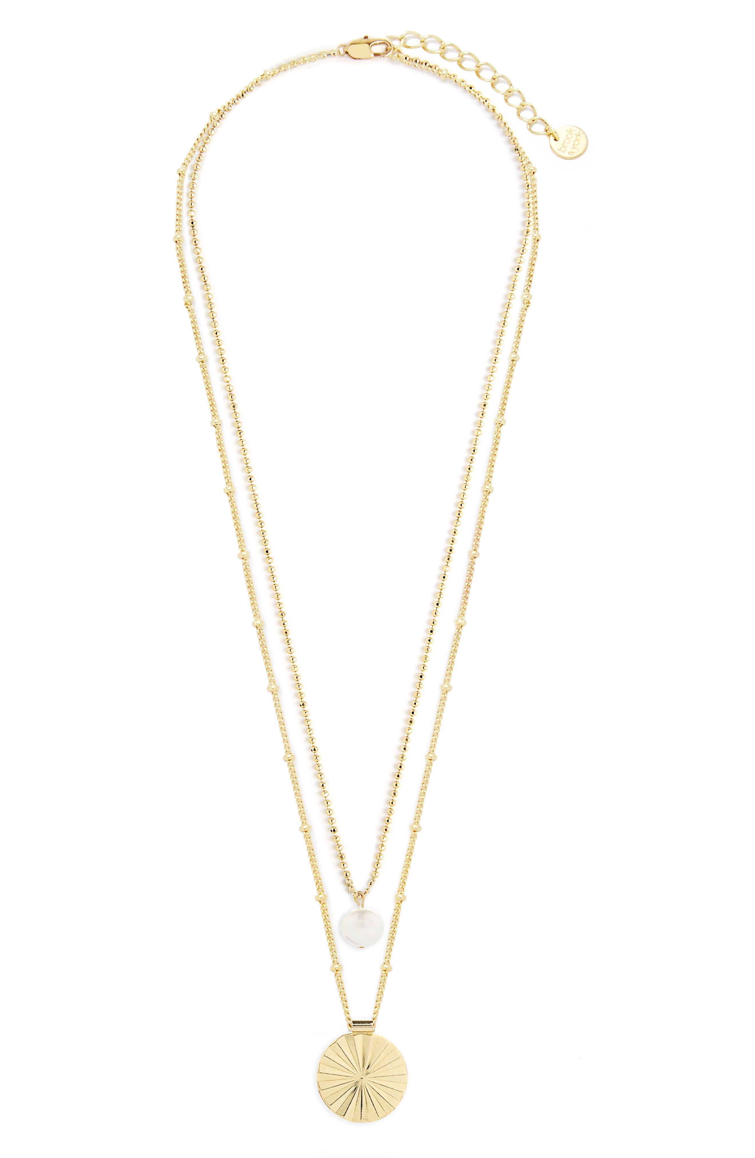 Celeste Pearl & Sunburst Pendant Layering Necklace