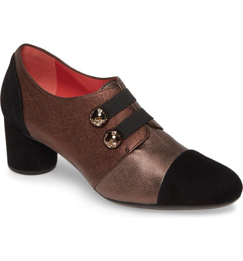 PAS DE ROUGE Lucia Block Heel Pump, Main, color, BLACK SUEDE/ MULTI LEATHER